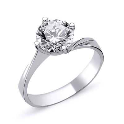 Inel elegant argint 925 rodiat cu zirconiu alb ITU0013