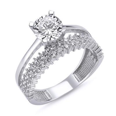 Inel elegant argint 925 rodiat cu zirconii albe