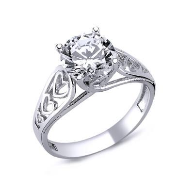 Inel argint 925 rodiat cu inimioare si zirconiu