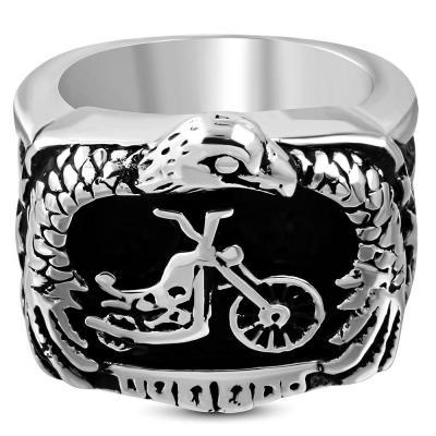 Inel Biker din otel inox cu motocicleta si vultur ISL0854