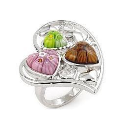 Inel argint 925 cu trei inimioare din sticla de murano millefiori autentica