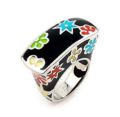 Inel argint 925 cu stelute si floricele colorate