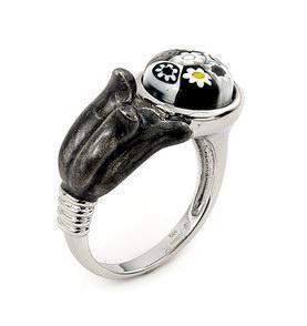 Inel argint 925 cu margarete si sticla de Murano alb cu negru