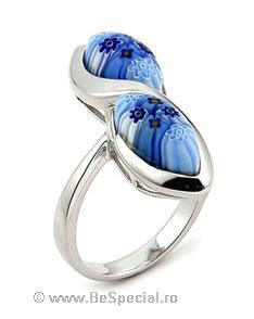 Inel argint 925 cu sticla de Murano albastra