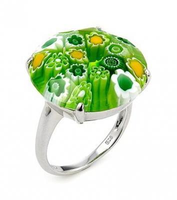 Inel argint 925 cu sticla de Murano verde