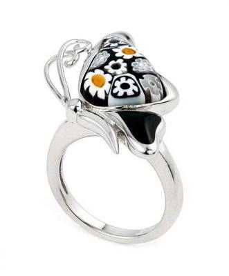 Inel argint 925 cu sticla de murano in forma de fluturas