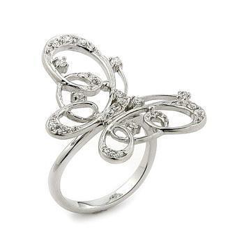 Inel argint 925 elegant forma fluturas cu zirconii
