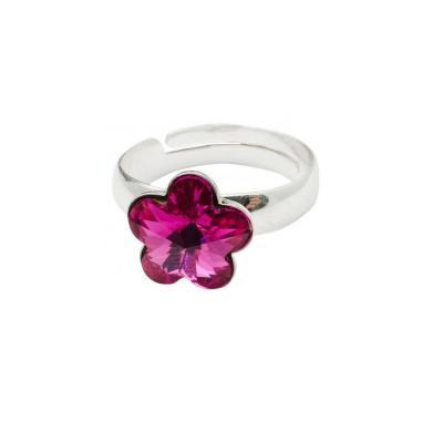 Inel argint 925 floare cu swarovski elements 10 mm Fuchsia