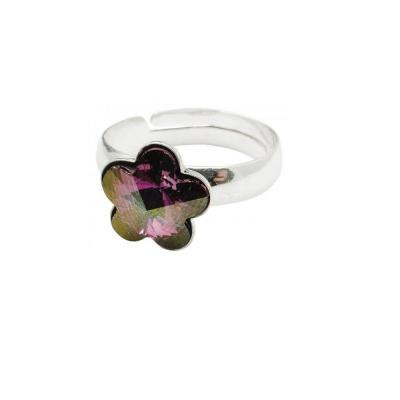 Inel argint 925 floare cu swarovski elements 10 mm Liliac Shadow