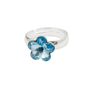 Inel argint 925 floare cu swarovski elements 10 mm Aquamarine