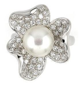 Inel argint 925 in forma de floare cu perla si zirconii [1]