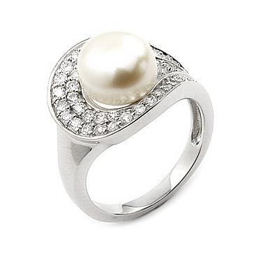Inel argint 925 rodiat cu perla de cultura si zirconii