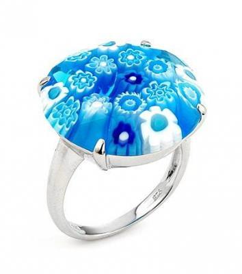Inel argint 925 rodiat cu sticla de Murano bleu