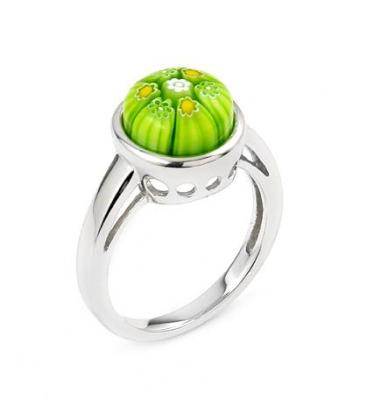 Inel argint 925 rodiat cu sticla de Murano verde
