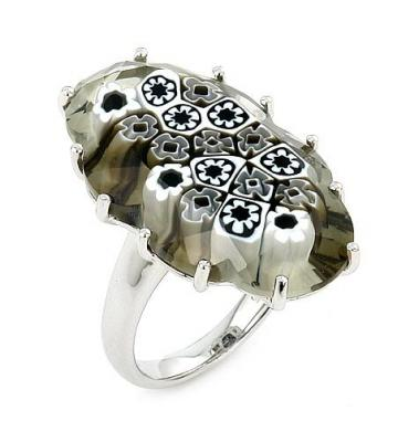 Inel argint 925 rodiat cu sticla de murano
