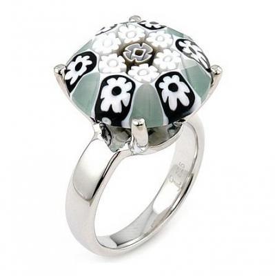 Inel argint 925 rodiat cu sticla murano millefiori