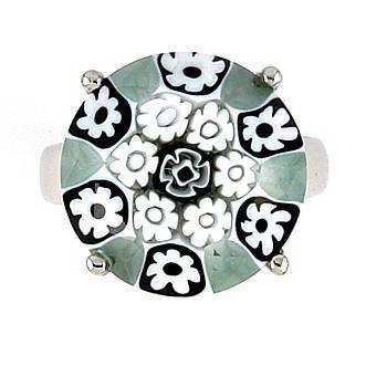 Inel argint 925 rodiat cu sticla murano millefiori1