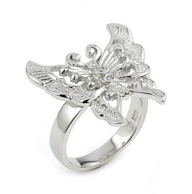 Inel argint 925 rodiat in forma de fluturas cu zirconii