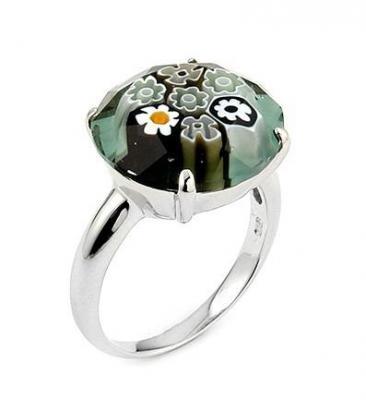 Inel argint 925 rodiat si sticla de Murano autentica