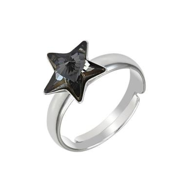 Inel argint 925 stea cu swarovski elements 10 mm Silver Night