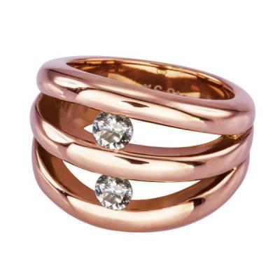 Inel auriu elegant cu doua zirconii