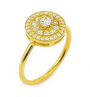 Inel din argint 925 placat cu aur si zirconii