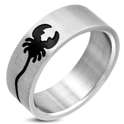 Inel din otel inox cu scorpion negru