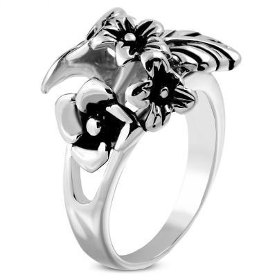 Inel din otel inox cu trei flori