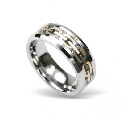 Inel din tungsten cu model auriu si cutiuta bijuterii
