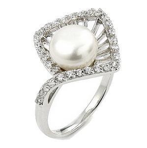 Inel elegant argint 925 rodiat cu perla si zirconii