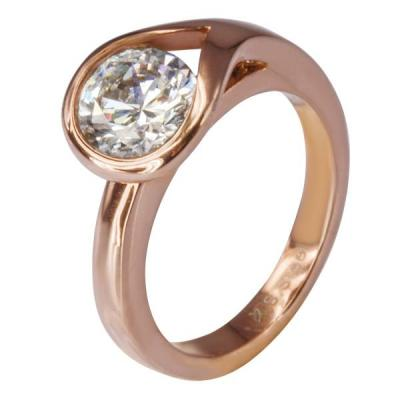 Inel elegant auriu din otel inox cu zirconiu