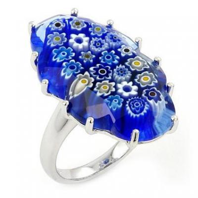 Inel elegant din argint 925 cu sticla de murano