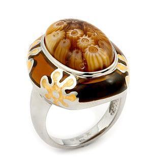 Inel elegant din argint 925 rodiat cu sticla de Murano