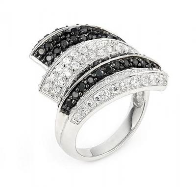 Inel elegant din argint 925 rodiat cu zirconii albe si negre