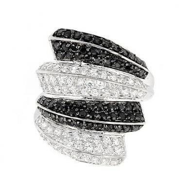 Inel elegant din argint 925 rodiat cu zirconii albe si negre1