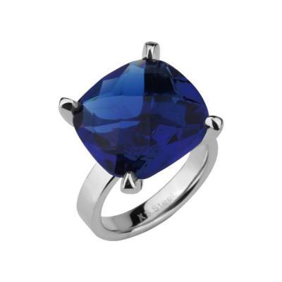 Inel elegant din inox cu cristal albastru si cutiuta bijuterii