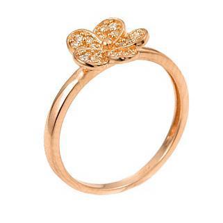 Inel floare din argint 925 aurit si zirconii