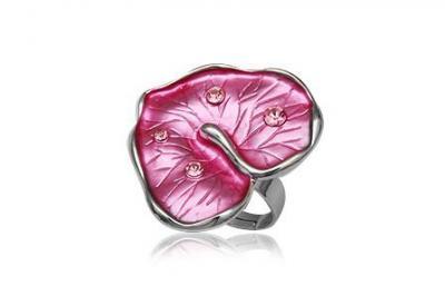 Inel in forma de frunza cu cristale si metal rodiat