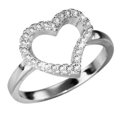 Inel inimioara din argint 925 cu zirconii
