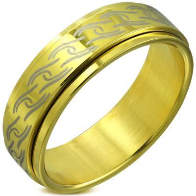 Inel inox auriu antistres cu spirale de vita de vie