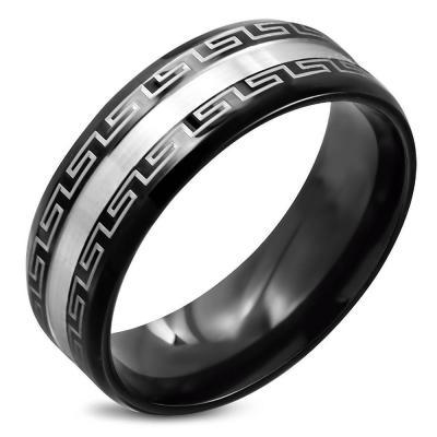 Inel negru din otel inox cu motive grecesti