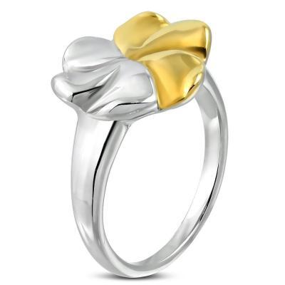 Inel otel inox cu floare in doua culori