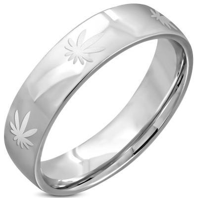 Inel inox cu frunze de Marijuana ISL0814