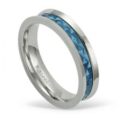 Inel otel inox model albastru [1]
