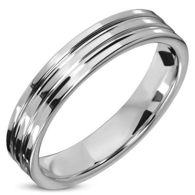 Inel inox argintiu cu striatii ISL09711