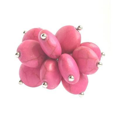 Inel reglabil decorat cu pietricele roz