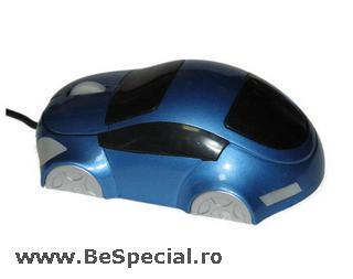 Mouse funny optic in forma de masinuta albastra