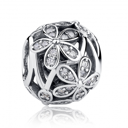 Charm argint 925 cu floricele si zirconii albe - Be Nature PST0014