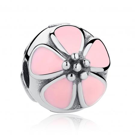 Charm argint 925 cu floricele roz - Be Nature PST0018