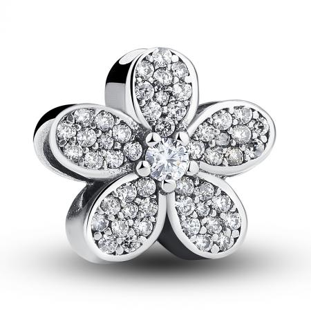 Charm argint 925 cu floricele si zirconii albe - Be Nature PST00210